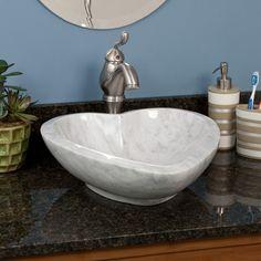 Heart-Shape Carrara Marble Vessel Sink - Bathroom Sinks - Bathroom