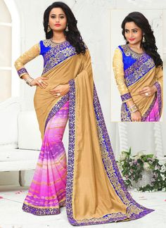 Shop online for saree with options like free shipping across india.  Buy this irresistible multi colour patch border and print work printed saree.