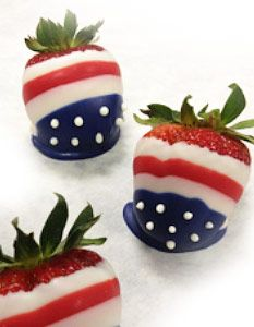 Add patriotic strawberries to your picnic table this Fourth of July! This simple project will yield colorful results, by dipping strawberries in alternating candy wafer colors you can create a dessert that will stand out at the party.