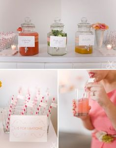 Bridal Shower - thinking, raspberry lemonade, sangria and possibly a blue margarita or mimosa?