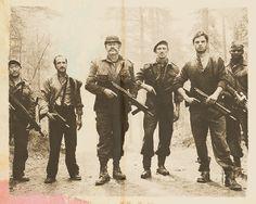 "The Howling Commandos: From left to right: Pvt. James Morita, Cpl. Jacques ""Frenchie"" Dernier, Cpl. Timothy Alyosius ""Dum Dum"" Dugan, Lt. James Montgomery Falsworth, Sgt. James Buchanan ""Bucky"" Barnes, Pvt. Gabriel ""Gabe"" Jones (Italy, November 1943)."