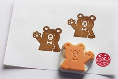 teddy bear stamp. bear hand carved rubber stamp. by talktothesun