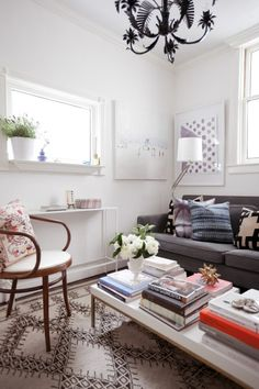 Inspired by this small living room. Looks cozy and beautiful. The curve of the wooden side chair is also lovely. A CUP OF JO: San Francisco apartment tour with Jordan Ferney Small Living Room Design, Small Space Living, Living Room Designs, Small Spaces, Living Room Decor, Living Spaces, Living Area, Family Room Design, Bedroom Decor
