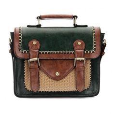 Yoins Dark Green Batchel Bag (596.535 IDR) ❤ liked on Polyvore featuring bags, handbags, yoins, green, handbags purses, green satchel, top handle satchel handbags, brown purse and top handle handbags