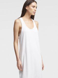 Dkny Double-Layer Tank Midi Dress - White Combo Xx-Small