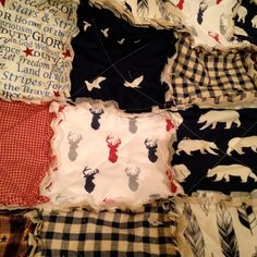 Crib Rag Quilt, Deer Elk Tribal Rustic Woodland Navy Red Gray Blue Gray Distressed Crib Bears Baby Boy Crib Bedding Baby Quilt Feathers by CottageDome on Etsy
