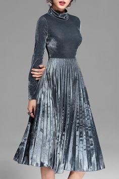 Turtleneck Pleated Velvet Midi Dress in Blue-Grey