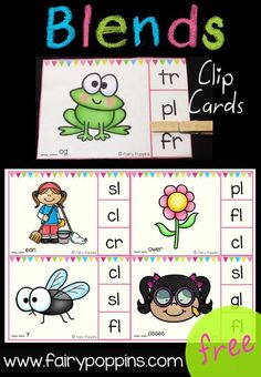 Free Blends Clip Cards - Fairy Poppins Kindergarten Centers, Kindergarten Reading, Kindergarten Classroom, Teaching Reading, Classroom Ideas, Preschool Literacy, Future Classroom, Guided Reading, Teaching Art