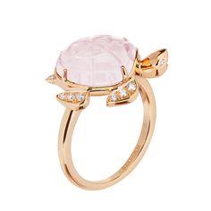 Honu, the turtle ring, pink quartz by Boucheron
