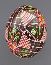 Pysanka, Real Ukrainian Easter Egg Hen Chicken Shell,Geometric Design,Flower M25
