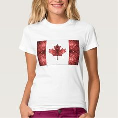 Canada flag red sparkles T-Shirt by #PLdesign #sparkles #Canada #RedSparkles #SparklesGift   **you can choose between many different styles (toddlers, kids, ladies and men)**
