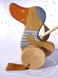Wooden Push Toy a Goose eco friendly toy natural toddlers toy -- Friendly Toys -- etsy