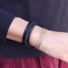 Thin leather braided bracelet (Richard de Latour) shop it on Les trouvailles d'Elsa.fr
