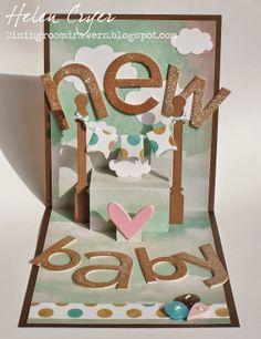 Karen Burniston Pop it Ups Designer Challenge - Mamas & Babies 3d Cards, Easel Cards, Pop Up Cards, Craft Cards, Elizabeth Craft Designs, Fancy Fold Cards, Glitter Cards, New Baby Boys, Stamping Up