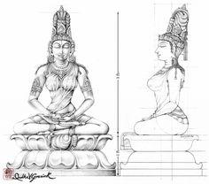 Simantini Devi Murti Version I Shiva Art, Hindu Art, Indian Artwork, Lotus Art, Tanjore Painting, Detailed Drawings, Traditional Paintings, Mural Art, Art Sketchbook