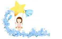 children's wallpaper girl smile dress flower star swing fantasy HD wallpaper