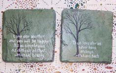 Slate coasters hand painted tree with sayings by memoriesforevervt Painted Slate, Painted Rocks, Hand Painted, Slate Art, Slate Tiles, Christmas Gift List, Christmas Ideas, Christmas Crafts, Diy Crafts For Gifts