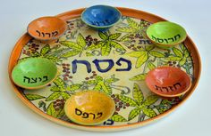 Passover Seder Plate, Passover Plate, ceramic Hand painted, Jewish Gifts, Judaica Art, Floral Jodaica Design, Judaica Israel,READY TO SHIP by IritPottery on Etsy