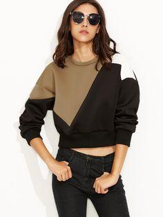 Color Block Drop Shoulder Crop Sweatshirt — 0.00 € --------------color: Multicolor size: one-size