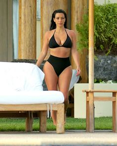 Kim k high wasted bathing suit