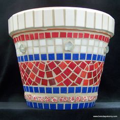 Red, White and Blue Americana Mosaic Flower Pot. $66.00, via Etsy.