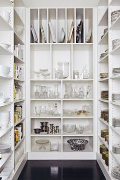 Caden Design Group: Fantastic walk-in pantry with floor to ceiling MDF built-in shelving and glossy espresso flooring. Would love this, a pantry for storage of crockery not just food. Pantry Storage, Kitchen Organization, Kitchen Storage, Pantry Shelving, Mdf Shelving, China Storage, Organization Ideas, Ceiling Shelves, Dish Storage