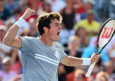 Milos Raonic...winning semi-final at Rogers Cup, Montreal, Aug,10,2013