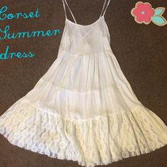 "sale!!  Corset style summer dress ☀️ Pair this dress with a pair of boots and denim jacket for cooler spring days, or add sandals on a warm summer afternoon. Straps are adjustable and the lace up back can loosen or tighten as needed. I am 5'4"" and it hits me just above the knee. Dresses Mini"