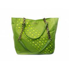 PINKO - Shopping bag Fo studs detail nylon lime  - Elsa-boutique.it
