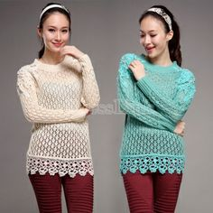 $26.30 Women's Hollow Long Sleeve Round Neck Knit Knitting Sweater Top