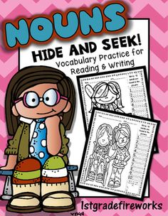 Nouns..Hide and Seek https://www.teacherspayteachers.com/Product/NounsHide-and-Seek-2278621  Noun Hide and Seek Student's find nouns in single page picture. Student accountibility as they record 10 noun words. Multiple choices for differentiation. Challenge words for student choice. Great for reading ( vocabulary / fluency ) & writing ( journals / reading logs / vocabulary folders, etc)  Kid Themed. Black and white to save on ink.