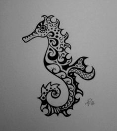 Your place to buy and sell all things handmade - Custom Ink Drawing Black & White Commissioned Artwork by tarren - Seahorse Drawing, Seahorse Tattoo, Seahorse Art, Great Tattoos, Beautiful Tattoos, Beginner Tattoos, Ink Drawings, First Tattoo, Future Tattoos