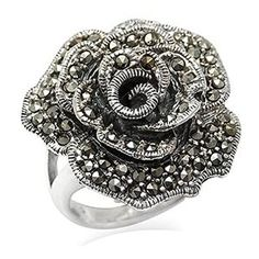 Marcasite 925 Sterling Silver Rose/Flower Ring