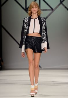 14. Love Bite blazer in blackberry lace and silk, The Player top in blush lace, Venom short in navy leather.