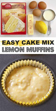 Recipes Using Cake Mix, Box Cake Recipes, Homemade Cake Recipes, Fruit Recipes, Sweet Recipes, Dessert Recipes, Muffin Recipes, Cake Mix Desserts, Desert Recipes