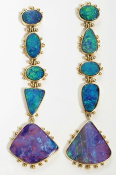 A PAIR OF OPAL AND 18K GOLD EAR PENDANTS   Each designed as a line of 5 opals, mounted in 18k gold, for pierced ears,