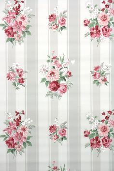 pink roses on gray and white stripes