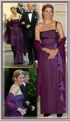 Princess Maxima in purple Queen Of Netherlands, Wearing Purple, Royal Brides, Queen Dress, Queen Maxima, Royal Jewels, Royal Fashion, Beautiful Gowns, Purple Dress