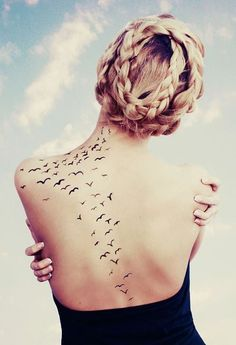 "♡♥ how the birds are spread, but I want better looking birds not ""V"" looking birds... want it from my other tattoo going and spread across to my other shoulder blade"