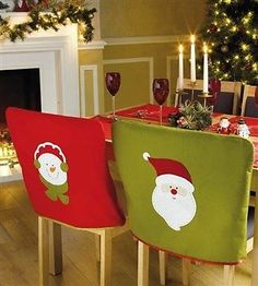 Quality Santa and Snowman festive Christmas Chair Covers red green x 4 Christmas Sewing, Christmas Snowman, Handmade Christmas, Christmas Ornaments, Christmas Table Settings, Christmas Decorations To Make, Holiday Crafts, Holiday Decor, All Things Christmas