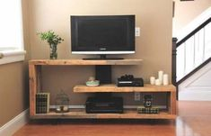 Diy tv console rustic modern console do it yourself home projects from white diy rustic wood Tv Console Modern, Modern Tv, Rustic Tv Console, Modern Rustic, Rustic White, Wooden Console, Tv Stand Plans, Console Design, Cabinet Design