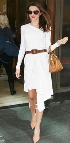 White Long Sleeve Asymmetric Neck Zip Back Chiffon Wrap Dress - Inspired by Miranda Kerr