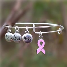 Breast Cancer Awareness Bangle With Faith, Hope, and Love Charms Choose Pink Ribbon or Tree of Life Charm Bracelet Show Your Support Please Allow Weeks for Delivery Cheap Charm Bracelets, Bangle Bracelets With Charms, Necklaces, Breast Cancer Support, Breast Cancer Awareness, Breast Cancer Inspiration, Hand Bracelet, Love Charms, Faith Hope Love