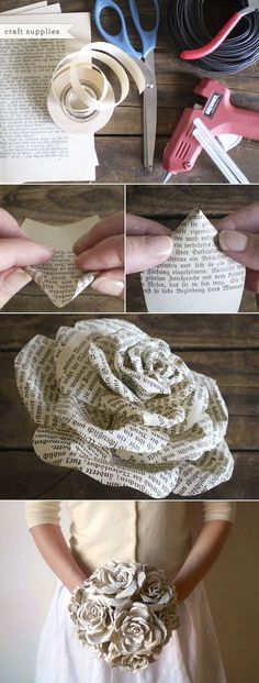 Recycled Book Paper Roses Bouquet