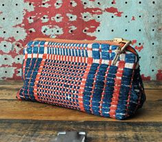 I WANT THIS. Antique Vintage Woven Coverlet Zip Pouch w/ Distressed Rope Pull.  via Etsy.