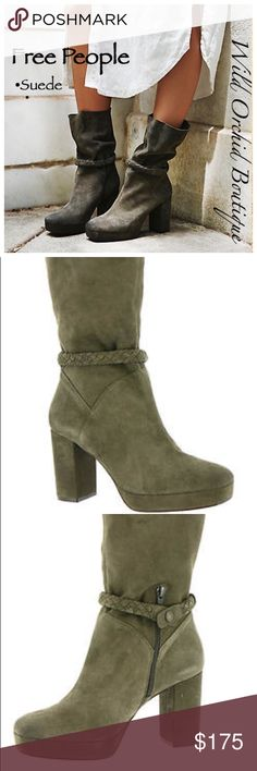 """FREE PEOPLE SUEDE BOOTS * Strut your stuff in this Gorgeous Free People statement-making suede boot * Suede leather upper with braid detail * Lightly cushioned footbed * 3-1/2"""" covered heel * Size 39 Euro. (US 8.5-9) * These run a bit short on me. I am a size US9.  Therefore I have to let these beauties go :( Free People Shoes Ankle Boots & Booties"""