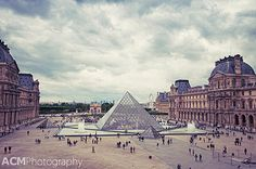 Inside the Louvre, looking out to the glass pyramid, Paris, France