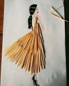 Mondadientes dress ❤ Dress Design Sketches, Fashion Design Drawings, Fashion Sketches, Fashion Illustration Collage, Fashion Illustration Dresses, Creative Artwork, Art Plastique, Diy Art, Collage Art