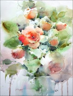 Roses 1 Original Watercolor Painting 12x9 inches by CMwatercolors, $120.00