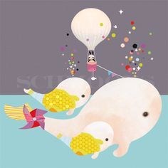 Have to love this. It has a hot air balloon pin wheel and ...little whales.